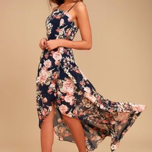 Navy blue floral print high low dress